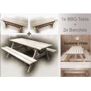 """Kiwi Classic + 2x BENCHES"" - Adults Traditional Picnic Table / Classic BBQ Table"