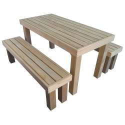 Formal Outdoor Table & 2x Benches  (1500L x 750W x 750H)