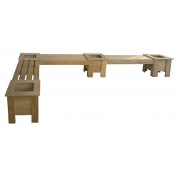 L-SHAPE EXTENDED Corner Planter Boxes + Seat Combo